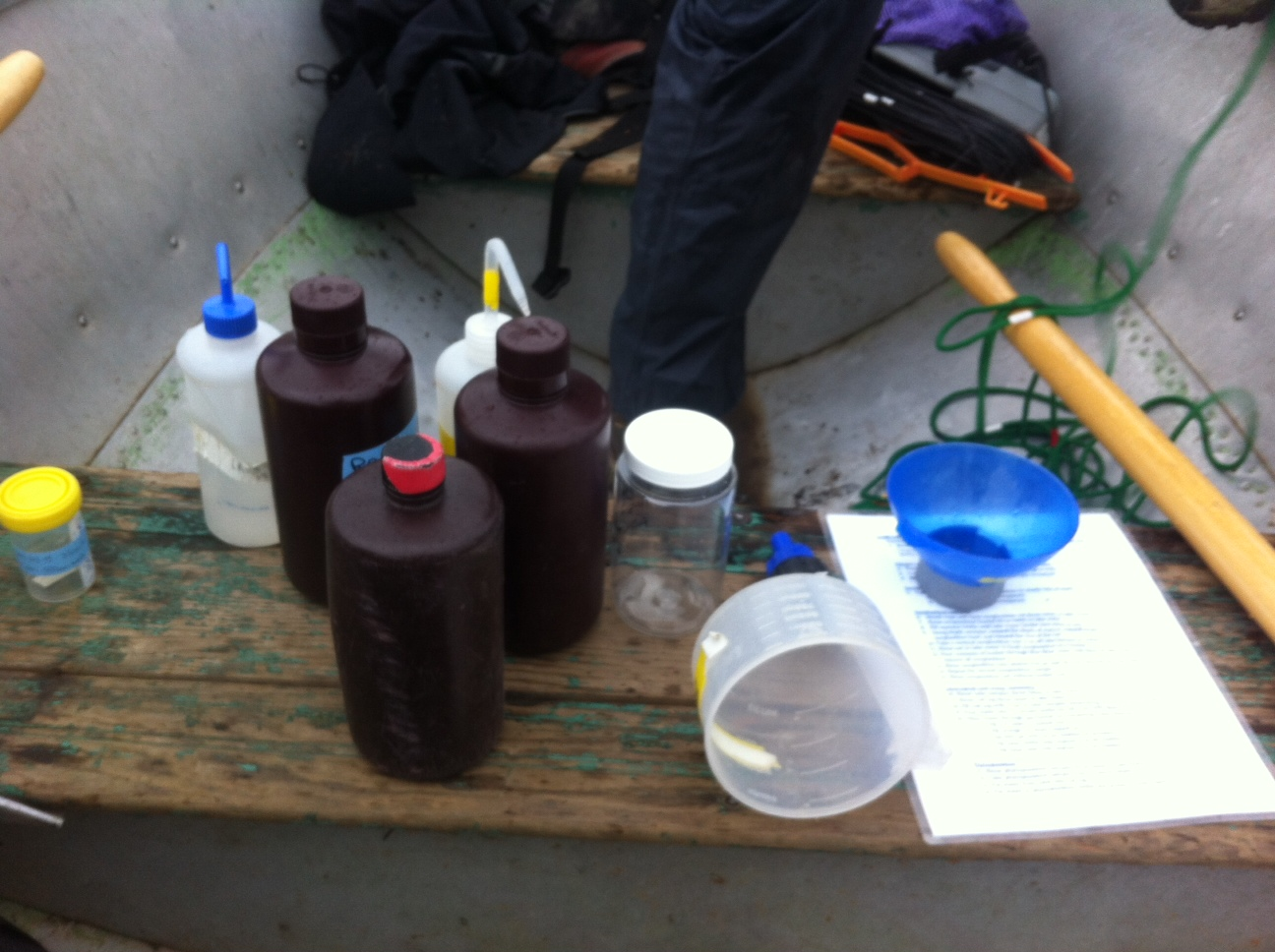 Field work in a boat: sampling gear laid out on the bench as we anchor in to the first field site.